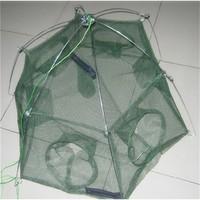 Promotion!! New 80 * 80cm Fishiing Net Minnow Folded Fishing Trap Baits Cast Mesh Shrimp Cage 6 Holes Fish Crab Net