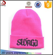 2015 High Quality pink knit pattern winter woolen mens knitted winter caps