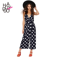 HAODUOYI Women Big Dot Print Sexy Deep V Jumpsuits Wide Leg Playsuits Sleeveless Rompers with Belt for Wholesale