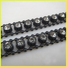 Black Plastic Base Crystal Strass Trimming Beaded Trim Wholesale for Garment