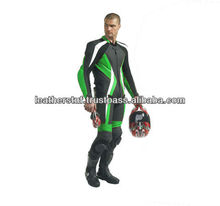 Leather Race Quality Leather Suit Green