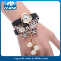 10 Colors Ladies Womens Retro Leather Bracelet Butterfly Decoration Quartz Vintage Wrist Watch 2015 Hot Selling