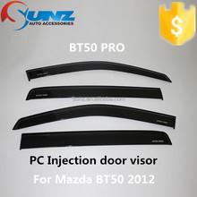 For Mazda BT 50 2012 door visors PC Injection black car door visors sun visor window deflector