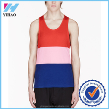 Yihao Custom logo slim fit tank top, muscle fit gym stringer vest men 2016 new design singlet mens wear