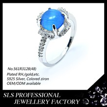 latest 925 sterling silver infinity ring with Deep Sky Blue lucky stone silver ring best valentines gift jewelry ring