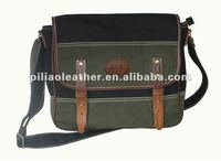 2012 Latest Original Design Fashion Waxed Cotton Canvas Messenger Bag with Leather For Men/Teens