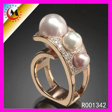 Customized Stamped Your Name Irregular Three Pearl Finger 3 Gram Gold Rings Design