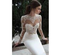 SJ1361 new design high neck backless chiffon appliqued mermaid long sleeve evening dress