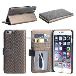 Factory price fancy grid pattern pu leather phone holster for iphone 6 plus