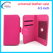 """universal leather case for 4.5'' mobile phone,4.5"""" universial flip cover case"""