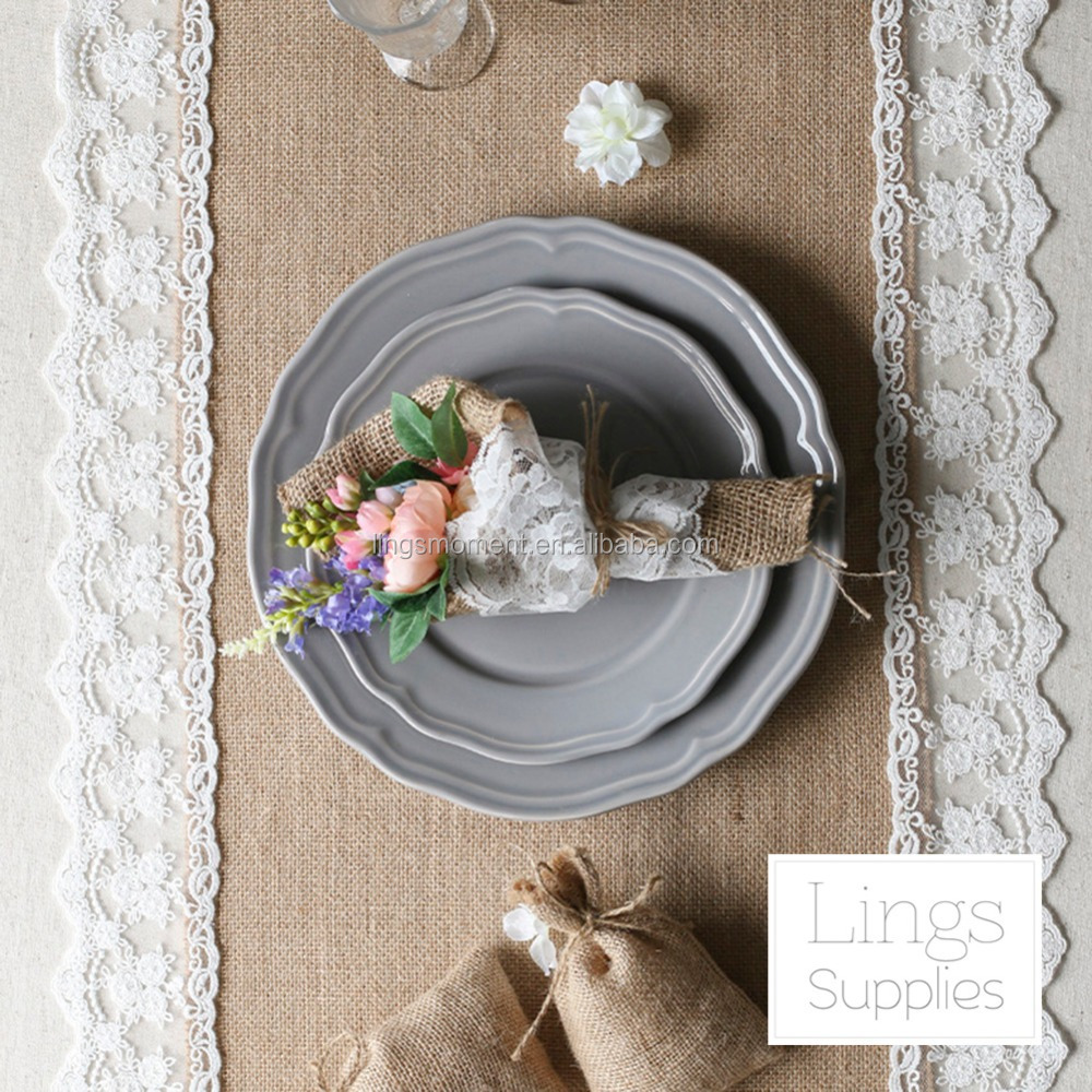 Rustic custom Length   Available Table Burlap length Runner Country Custom table runner Lace For