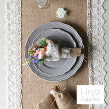 Burlap Lace Table Runner Custom Length Available For Rustic Country Wedding Party Table Decoration