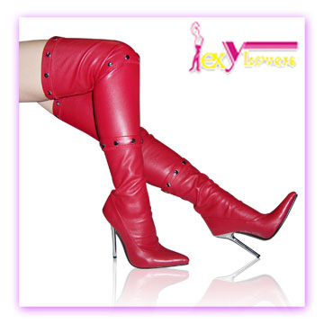 Chine gros Alibaba vente chaude rouge sexy cuisse hautes bottes femmes Bottes femmes