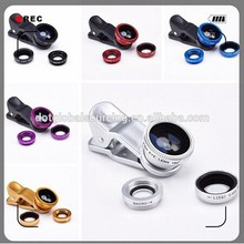 Factory Price Macro Lens+Wide Angel+Fish Eye 3 in 1 Universal Clip Lens for cell phone