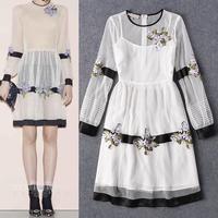 Long Sleeve Dress New Fashion Designer Clothing 2016 Spring Women Gauze Embroidery Knee Length Elegant Boutique Dress Gorgeous