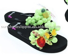 beautiful slippers with colourful bubble grape