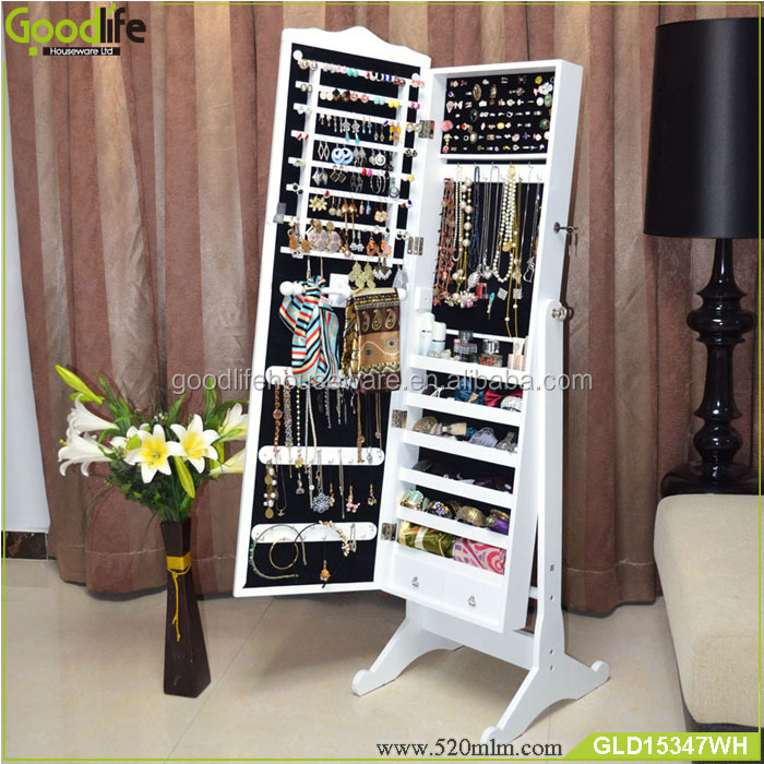 En Bois Bijoux Cabinet Avec Miroir Pour Chambre Placard