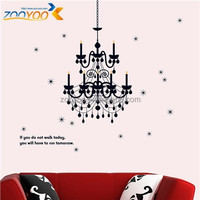 ZYPB-819-NN Removable zooyoo pvc crystal lamp wall stickers wall art decor for living room wall deco