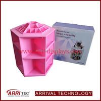 Exquisite Pink Rotatable 360 Degree Manufacturer Wholesale Custom Plastic Makeup Organizer Rotating Cosmetic Display Rack