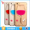 Luxury Red Wine Cup Liquid Transparent tpu Case For iphone6,liquid cartoon case cover for iPhone