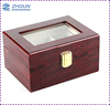 3 slot glass top wood glossy Luxury Watch Box