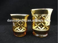Gold stained glass candle holders uk