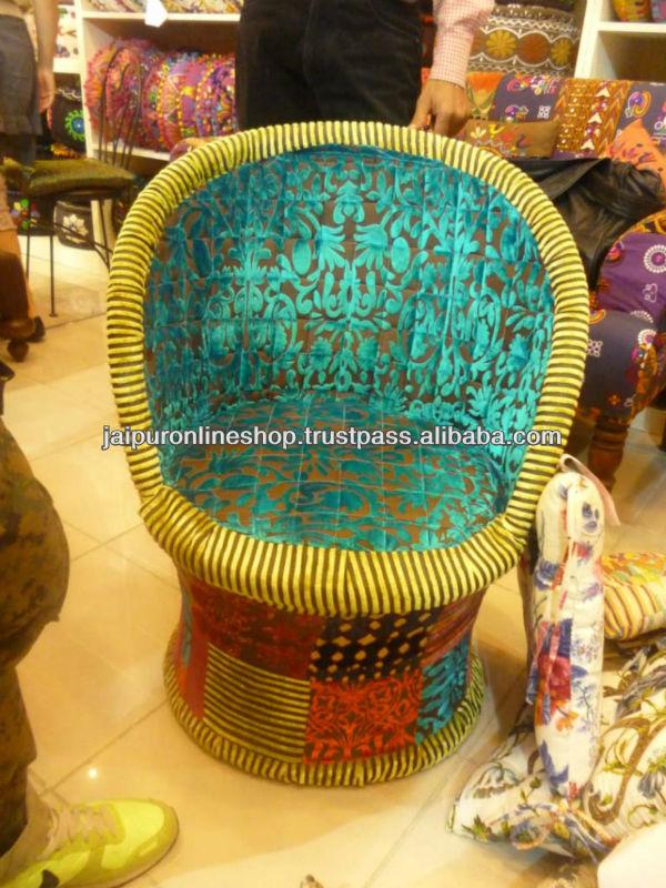 Indian Handmade Vintage Sari Quilt Maharaja Chair Sofa