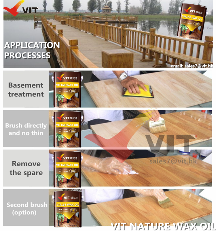appliaction processes of VIT-168 Nature wax oil for wood product, out door wood paint, plant  lacquer for wood protection, weahter and UV resistant wood paint, water resistant wood coating.png