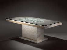 Luxurious and noble travertine natural stone table,glass top coffee table for living room