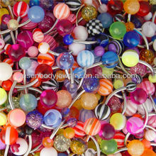 Wholesale lot of 100 mixed color acrylic navel belly ring piercing jewelry