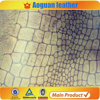 Good quality crocodile skin top grain pu leather for men and ladies shoes and wallet in handbag A1975