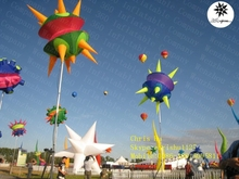 2015 custom outdoor inflatable flying lighting decorative planet spikey balloon