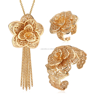 Luxry 18K gold plated expensive jewelry set for bride