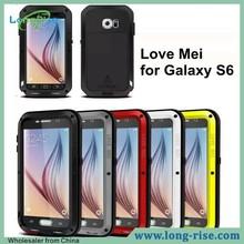 Powerful LOVE MEI Shockproof Waterproof Metal Gorilla Glass Hybrid Case for Samsung Galaxy S6