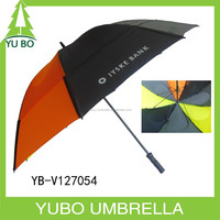 Double canopy golf umbrella with windproof hole/double layer stormproof golf umbrella with air vents hole