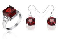 925 Silver Garnet Jewelry Set
