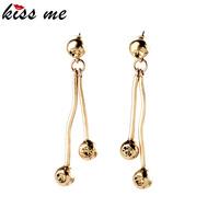 New Ball and Crystal Linear Drop Earrings Oscar Design Gold Brass Metal