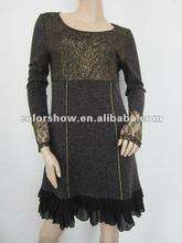 Golden Lace Fashion Women Dresses For Winter