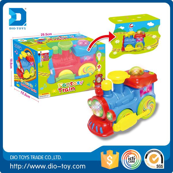 Crianças brinquedos B / O mini trem dos desenhos animados com música e luzes