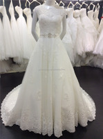 Real pictures Alibaba Long Train Keyhole Back Cap Sleeves A-Line Lace Appliqued Bridal Dress With Beading Waist A093