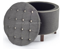 latest design pu storage ottoman with rubber wood