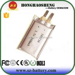New model lipo battery 501730 3.7V 200mah battery cell for MP3 MP4 Vedio battery
