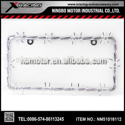 X-racing -2015 NM51016112hot selling barbed wire Car Chrome License Plate Frame