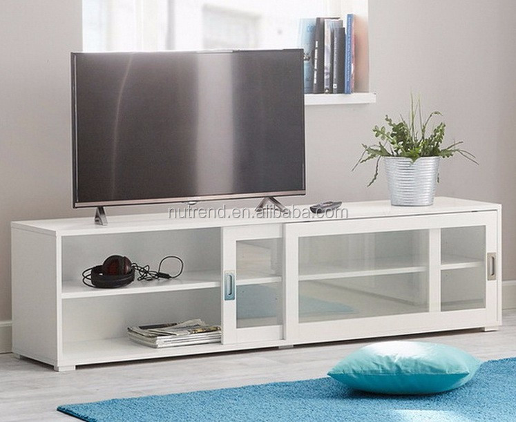 Merveilleux Wooden Modern TV Cabinet With Glass Sliding Doors Showcase Design