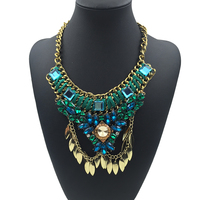 2015 Brand New Fashion green crystal Statement Necklace Ethnic Bib Design Necklaces &Pendants Luxury Jewelry For Women Gift