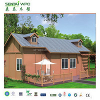 countryside villa made of wpc material/ waterproof and uv-resist wooden prefab house