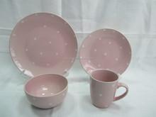 16pc polka dot ceramic dinnerware set