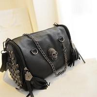 New 2014 Fashion European and American Style Women Handbags Tassel Skull Chain bag PU leather Shoulder Messenger bags