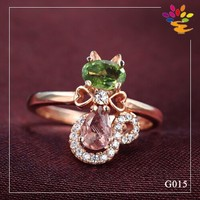 Cat Diamond Ring,925 Sterling Silver Rose Gold Plated Gemstone Fashion Ring,Fashion Tourmaline Silver Fashion Jewelry Ring