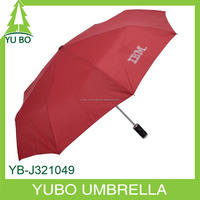 water resistant auto open and close LED light umbrella, three fold umbrella with flashlight handle